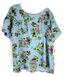 xhilaration Purple Floral Blue Ruffle sleeve Top